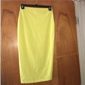 ASOS Chartreuse Jersey Pencil Skirt